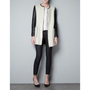 Zara teddy jacket with leather sleeves